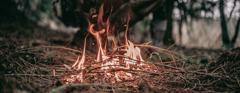 Fire burning on farm land