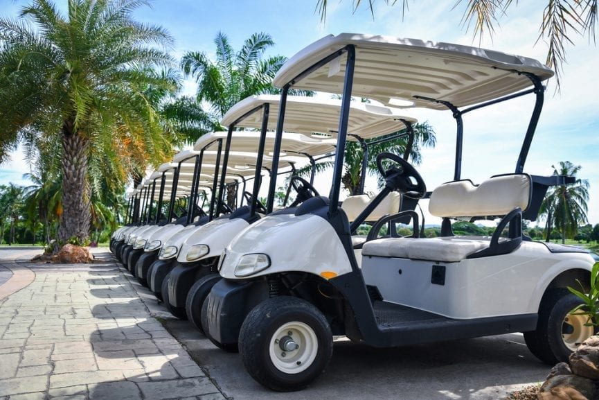 Personal injury: golf carts in a row